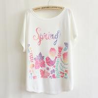 Fashion Women Beaded Loose Bat White Short-Sleeve T-shirt women's clothing free shipping t-shirts 009