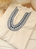 National embroidery trend V-neck half sleeve loose pullover chinese style white 100% cotton shirt cloth shirt female
