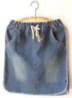 All-match drawstring elastic waist hemming placketing retro finishing wearing white denim skirt bust skirt short skirt denim