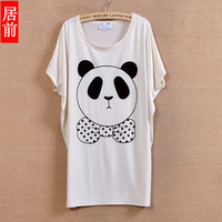 Free shipping 2013 a7115 summer cartoon bow batwing medium-long T-shirt short-sleeve shirt