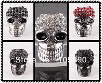 Free shipping Wholesale Rhinestone Crystal Metal Skull Charm Spacer Loose Beads Fit Bracelets GA151-GA155-10
