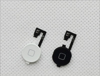 1 White and 1 Black New  Replacement Home Button Key Repair Part Flex Cable For iPhone 4 / 4G