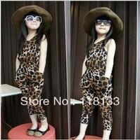 Wholesale - -10 pcs/lot Summer girls Siamese pants Leopard Children suit