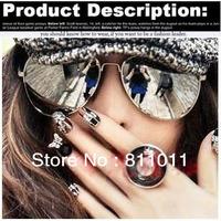 Freeshipping 2013 Hot !!! Name Brand Reflective Sunglasses Unisex Retro for Women Gold metal Rim Glasses Sports for Men