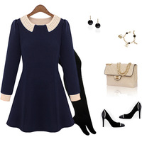 Fashion women's 2013 women's spring autumn pearl one-piece dress