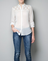 2013 Spring Summer Autumn ready!!! Women Back Lace Hollow Out Chiffon Shirt 2-Color white and black lady shirts AB-8940
