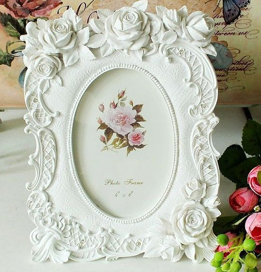 Rustic pure white rose photo frame fashion vintage resin photo frame desktop photo frame swing sets(China (Mainland))