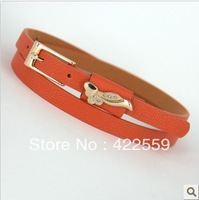 Min Order $15(mixed order)  Love rhinestone double candy color belt decoration strap thin all-match belt female small strap