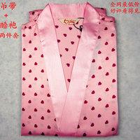 Spring and autumn summer women's faux silk spaghetti strap nightgown robe bathrobes twinset Women temptation sexy sleepwear