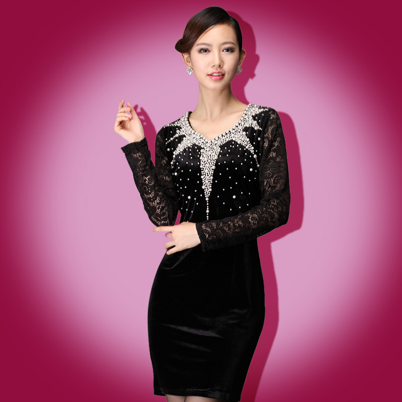 Plus size clothing 2013 spring V-neck beading lace slim basic skirt gold velvet long-sleeve dress(China (Mainland))