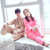 Autumn winter lovers design coral fleece sleep set male women's thickening thermal twinset lounge