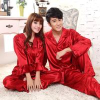 Lovers sleepwear long-sleeve spring and autumn faux silk married sleepwear red festive male women's set