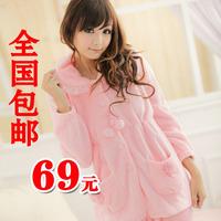 Autumn and winter women's thickening coral fleece sleepwear long-sleeve lounge twinset