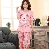 High quality sleepwear female 100% cotton short-sleeve cartoon puppy casual thin lounge set shuiyi