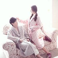 Autumn and winter lovers coral fleece robe Men Women long-sleeve winter thickening coral fleece bathrobe