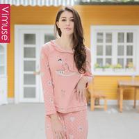 Summer 100% cotton sleepwear ballet heart print girl pullover lounge set