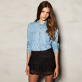 Retail 2013 New Fashion Collar Rivet Double Pocket Women Long Sleeve Denim Blouse lady Cotton Blend ShirtAB-9200