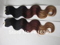 """AAAAA Brazilian Virgin Hair 18"""" #1bT33T27 Body Wave 100%Human  Hair Extensions Machine Made Weft"""