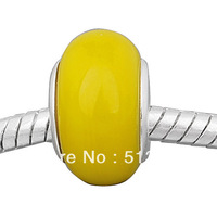 Free shipping!Vnistar Wholesale Lampwork Glass Beads,Yellow Lampwork Beads For Bracelets (PGB615) 50 Pieces Each Lot
