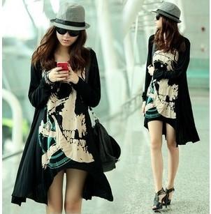Women's d306 fashion plus size loose long skull design long-sleeve T-shirt slim basic shirt