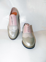 Color block decoration genuine leather handmade carved vintage shoes men and women leather brockden fashion preppy style small