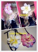 Beautyful White Pink rosette silk fabric flower knitted skinny hippie headbands accessories stretch elastic women hairbands