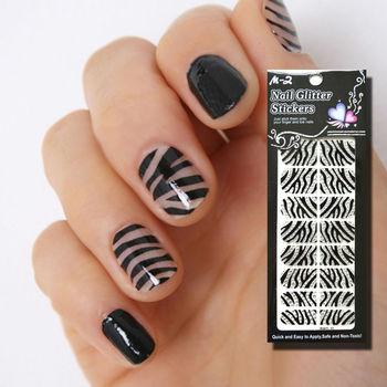 Zebra Nail Art Wrap / Nail Polish Sticker / Nail Strips BWG10