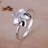 R130 Wholesale 925 silver ring, 925 silver fashion jewelry, flower ring