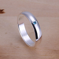 R105 Wholesale 925 silver ring, 925 silver fashion jewelry, Inlaid Blue Stone Ring