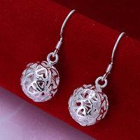 E100 Wholesale 925 silver earrings, 925 silver fashion jewelry, Solid Ball Earrings