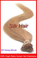 "50g 18"" 20"" 22"" Virgin 100% Remy Human Hair Keratin I-Tip Hair Extensions #27 Honey Blonde 0.5g/s 100s/Pack"
