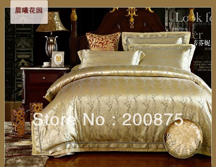 Free Shipping --New Design Dawn garden Luxurious jacquard duvet covers set /bed sheet /4pc comforter bedding set /linens(China (Mainland))