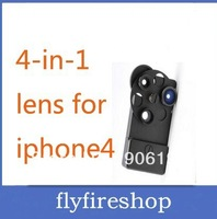 10pcs/LOT free shipping New Fashion Mental Materials 4 IN 1 Lens For Iphone 4 wide Angle+Macro+2X Zoom+Fisheye
