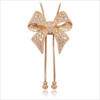 Accessories austria crystal bow long design crystal necklace christmas gift