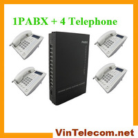 PBX SV308( 3 Co. lines and 8 Ext. lines) with 4 offiec Phone - Free shipping