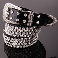 PU luxury crystal rhinestone leather waistband for lady  leopard print  belt  for women free shipping wholesale