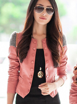 2013 spring small leather clothing female short jacket slim design PU o-neck women's outerwear motorcycle plus size single
