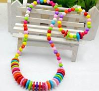Wholesale Handmade Children Jewelry Sets Colored Plastic Button Beads Necklace+ Bracelet