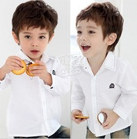 Free shipping 2013 spring new fashion casual Badge Boys baby child lapel long-sleeved shirt p809 ok