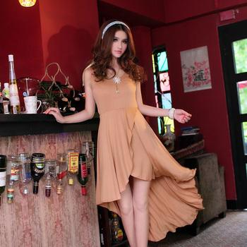 Low-high asymmetrical pleated dovetail one-piece dress long skirt irregular sweep summer women's