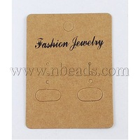 Paper Earring Display Card,  Rectangle,  Goldenrod,  Size: about 67mm long,  50mm wide