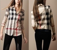 Free Shipping 2014 women clothes fashion blouses women shirts blouses plaid print blouse New