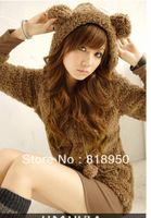 Free Shipping 2013New Korea Girl Plush Cute Women HOT Hoody Fleece Cartoon Bear Ear Zip Hip-length Hoodie Outerwear Jacket Coat