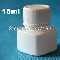 (300pcs/lot) 15ml/15g white color square HDPE bottle, aluminum foil pad pill bottle