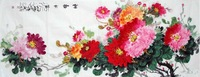 Oriental Asian Original Painting Ink Brush decorative Chinese painting Peony100%hand painted Gift Collection Office painting AJ1