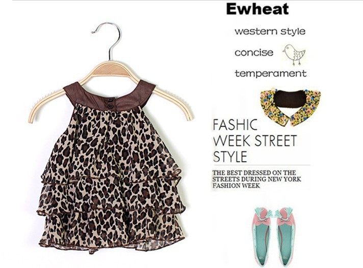 Baby girl chiffon party dress sleeveness leopard/zebra print 1-6years(China (Mainland))