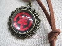 Free shipping Band Tokio hotel logo zinc alloy glass retro necklace for fans girls boys