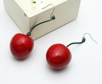 Min.order is $15 (mix order)Lovely Sweet red cherry earrings Free shipping Wholesale Earrings supplier