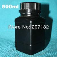 (50pcs/lot) 500ml/500g black color square HDPE bottle, jar, solid bottle,plastic bottle with inner cap