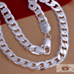 925 Silver Necklace, 20INCH 12MM FLAT CHAIN NECKLACE FOR MAN, Free Shipping #N202(China (Mainland))